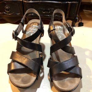 Dansko Frida black wedge sandal